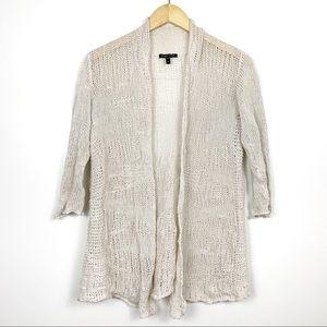 Eileen Fisher Cream Open Knit Cardigan Sweater